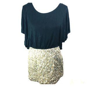 Do + Be Sequin & Black Overlay Mini Dress